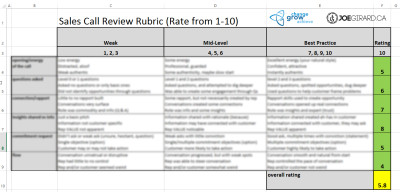 Sales Call Rubric Blurred