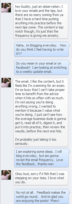 Facebook conversation, Insight, Feedback