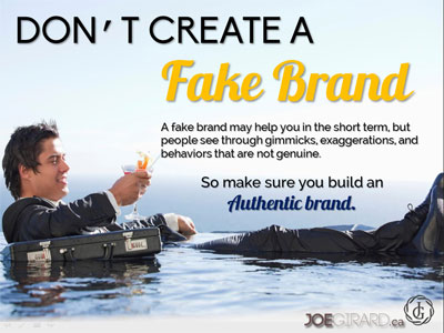 Personal Branding Ebook, Joe Girard, Fake Brand