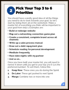 Goal Setting Template Sample Page